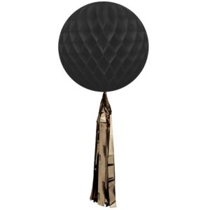 Honeycomb ball black with tassels