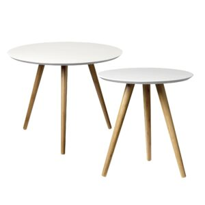 Bloomingville side tables round white villa madelief