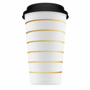 Coffee to go cups gold striped