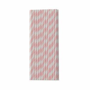 Paper straws pink stripe