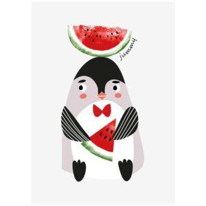 penguin postcard sparkling paper
