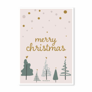 Hippe kerstkaart Merry Christmas groen